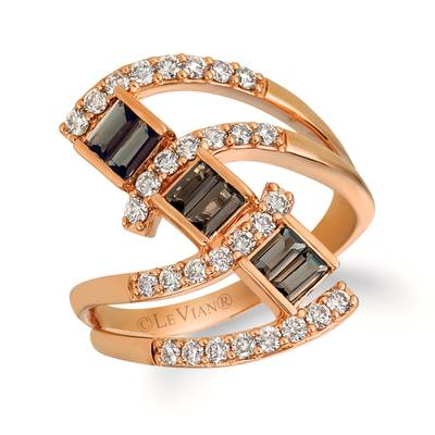 14K Strawberry Gold® Chocolate Quartz® 1/2 cts. Ring with Nude Diamonds™ 1/2 cts. | YRDW 15