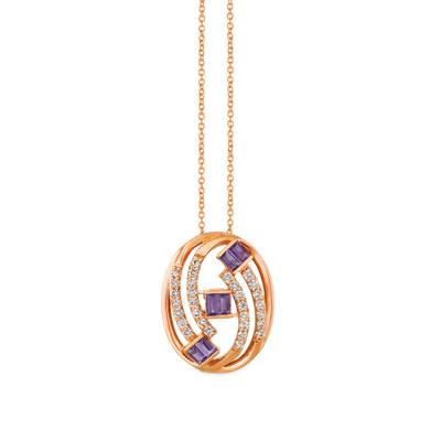 14K Strawberry Gold® Grape Amethyst™ 1/2 cts. Pendant with Nude Diamonds™ 5/8 cts. | YRDW 19