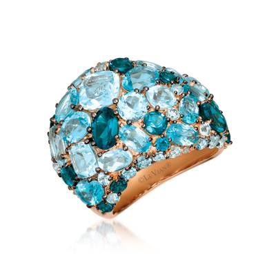14K Strawberry Gold® Blue Topaz 8  1/3 cts., Deep Sea Blue Topaz™ 2  1/2 cts. Ring with Nude Diamonds™ 1/8 cts. | YRDX 35