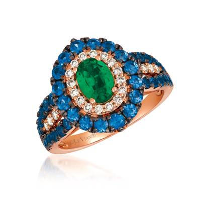 14K Strawberry Gold® Costa Smeralda Emeralds™ 5/8 cts., Blueberry Sapphire™ 1  3/8 cts. Ring with Nude Diamonds™ 1/3 cts. | YRDX 45