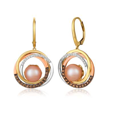 14K Tri Color Gold Strawberry Pearls®  cts. Earrings with Chocolate Diamonds® 1/3 cts., Vanilla Diamonds® 1/8 cts. | YRDX 71