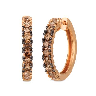14K Strawberry Gold® Earrings with Chocolate Ombré Diamonds® 1 cts. | YRDZ 69