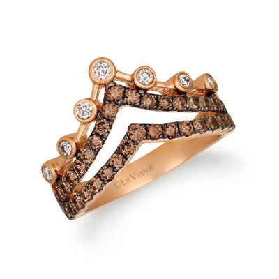 14K Strawberry Gold® Ring with Chocolate Diamonds® 3/4 cts., Nude Diamonds™ 1/6 cts. | YREK 51