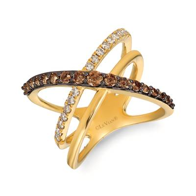 14K Honey Gold™ Ring with Chocolate Diamonds® 1/2 cts., Nude Diamonds™ 1/4 cts. | YREL 22