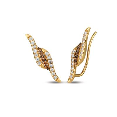 14K Honey Gold™ Ear Climber with Chocolate Diamonds® 1/5 cts., Nude Diamonds™ 1/2 cts. | YREM 23
