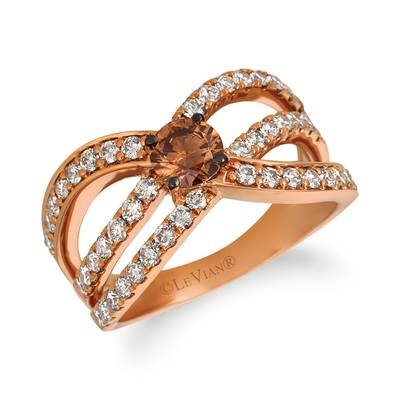 14K Strawberry Gold® Ring with Chocolate Diamonds® 1/2 cts., Nude Diamonds™ 7/8 cts. | YREN 23-060