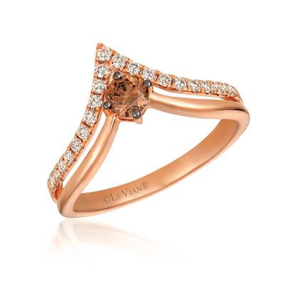 14K Strawberry Gold® Ring with Chocolate Diamonds® 1/4 cts., Nude Diamonds™ 1/4 cts. | YREN 50
