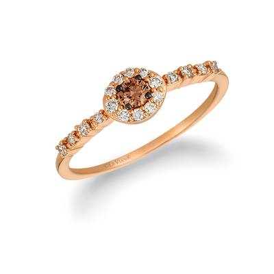 14K Strawberry Gold® Ring with Chocolate Diamonds® 1/10 cts., Nude Diamonds™ 1/6 cts. | YREN 70