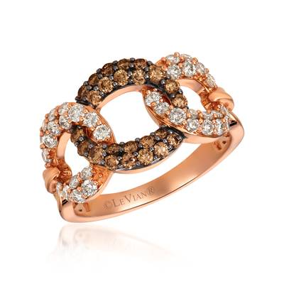14K Strawberry Gold® Ring with Chocolate Diamonds® 1/2 cts., Nude Diamonds™ 5/8 cts. | YREO 52