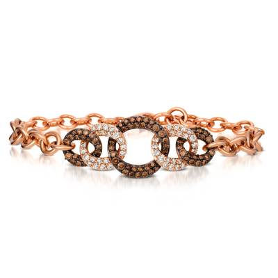 14K Strawberry Gold® Bracelet with Chocolate Diamonds® 1  1/5 cts., Nude Diamonds™ 3/4 cts. | YREO 53