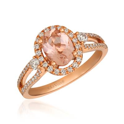 14K Strawberry Gold® Peach Morganite™ 7/8 cts. Ring with Nude Diamonds™ 1/2 cts. | YREO 67