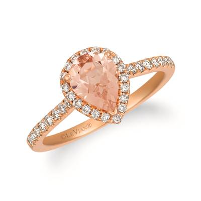 14K Strawberry Gold® Peach Morganite™ 3/4 cts. Ring with Nude Diamonds™ 1/3 cts. | YREO 69