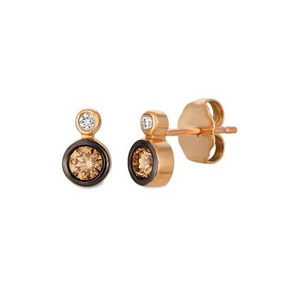 14K Strawberry Gold® Earrings with Chocolate Diamonds® 1/3 cts., Vanilla Diamonds®  cts. | YREO 84