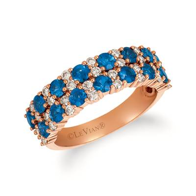 14K Strawberry Gold® Blueberry Sapphire™ 1  1/2 cts. Ring with Nude Diamonds™ 1/2 cts. | YREZ 121-070