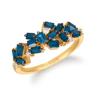 14K Honey Gold™ Blueberry Sapphire™ 1 cts. Ring with Nude Diamonds™ 1/10 cts. | YRFB 10-070