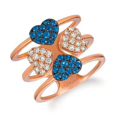14K Strawberry Gold® Blueberry Sapphire™ 1/2 cts. Ring with Nude Diamonds™ 1/2 cts. | YRFD 13-070