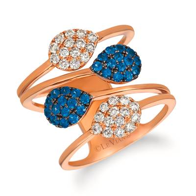 14K Strawberry Gold® Blueberry Sapphire™ 1/2 cts. Ring with Nude Diamonds™ 1/2 cts. | YRFD 14-070