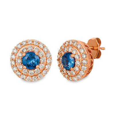 14K Strawberry Gold® Blueberry Sapphire™ 7/8 cts. Earrings with Nude Diamonds™ 1 cts. | YRFF 3