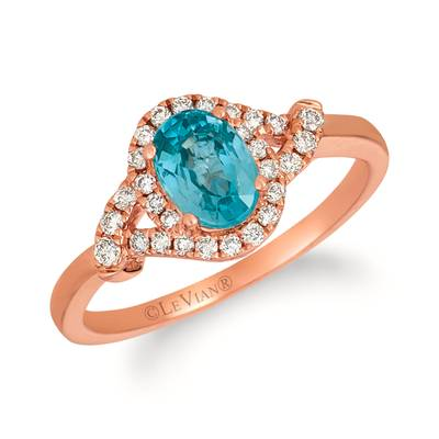 14K Strawberry Gold® Blueberry Zircon™ 7/8 cts. Ring with Nude Diamonds™ 1/5 cts. | YRFF 82