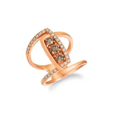 14K Strawberry Gold® Ring with Chocolate Diamonds® 5/8 cts., Nude Diamonds™ 3/8 cts. | YRFG 7-070