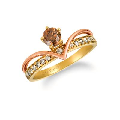14K Two Tone Gold Ring with Chocolate Diamonds® 1/2 cts., Nude Diamonds™ 1/3 cts. | YRFL 7-070