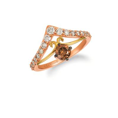 14K Two Tone Gold Ring with Chocolate Diamonds® 1/2 cts., Nude Diamonds™ 1/2 cts. | YRFL 8-070