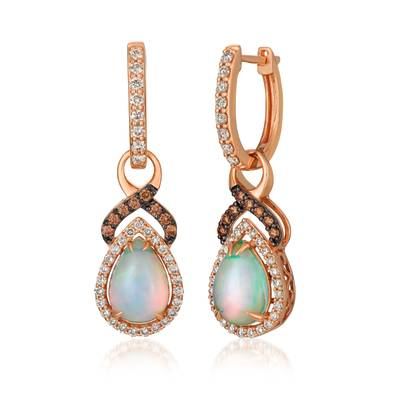 14K Strawberry Gold® Neopolitan Opal™ 1  3/4 cts. Earrings with Nude Diamonds™ 5/8 cts., Chocolate Diamonds® 1/5 cts. | YRFS 1