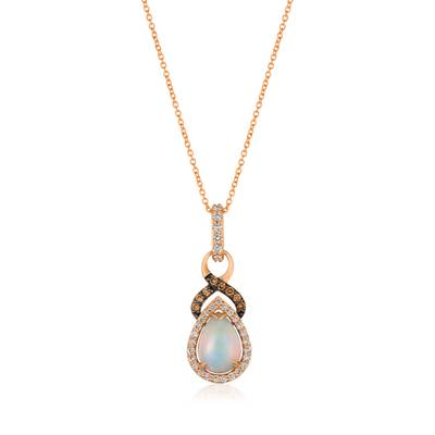14K Strawberry Gold® Neopolitan Opal™ 7/8 cts. Pendant with Nude Diamonds™ 1/4 cts., Chocolate Diamonds® 1/10 cts. | YRFS 2