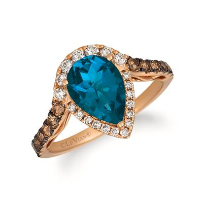 14K Strawberry Gold® Deep Sea Blue Topaz™ 2  1/4 cts. Ring with Nude Diamonds™ 1/4 cts., Chocolate Diamonds® 1/3 cts. | YRFS 23