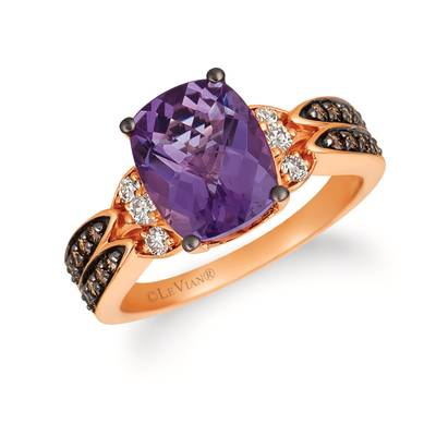 14K Strawberry Gold® Grape Amethyst™ 2  5/8 cts. Ring with Chocolate Diamonds® 1/4 cts., Nude Diamonds™ 1/6 cts. | YRFS 58