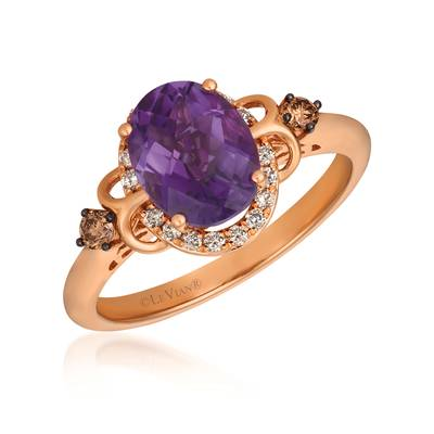 14K Strawberry Gold® Grape Amethyst™ 1  1/2 cts. Ring with Chocolate Diamonds® 1/15 cts., Nude Diamonds™ 1/8 cts. | YRFS 6