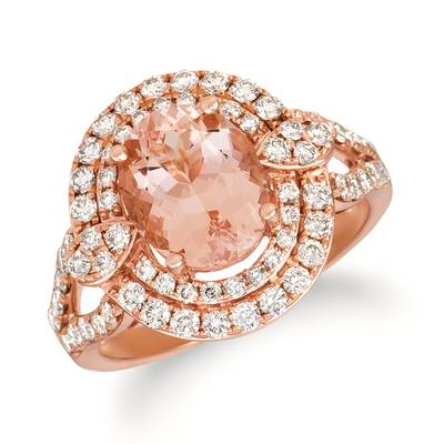 14K Strawberry Gold® Peach Morganite™ 1  7/8 cts. Ring with Nude Diamonds™ 1 cts. | YRFT 127-070