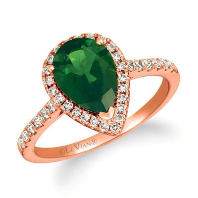14K Strawberry Gold® Pistachio Diopside® 1  7/8 cts. Ring with Nude Diamonds™ 1/3 cts. | YRFT 222