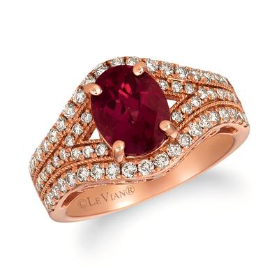 14K Strawberry Gold® Raspberry Rhodolite® 1  7/8 cts. Ring with Nude Diamonds™ 3/4 cts. | YRFT 88