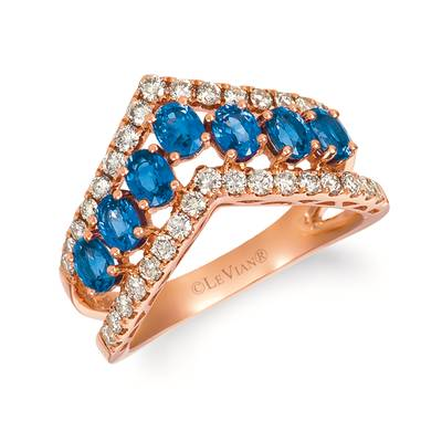 14K Strawberry Gold® Blueberry Sapphire™ 1  5/8 cts. Ring with Nude Diamonds™ 5/8 cts. | YRGA 26-070