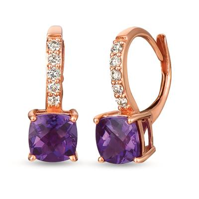 14K Strawberry Gold® Grape Amethyst™ 1  5/8 cts. Earrings with Nude Diamonds™ 1/6 cts. | YRGD 43