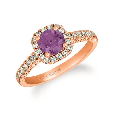 14K Strawberry Gold® Grape Amethyst™ 3/4 cts. Ring with Vanilla Diamonds® 1/6 cts. | YRGE 51