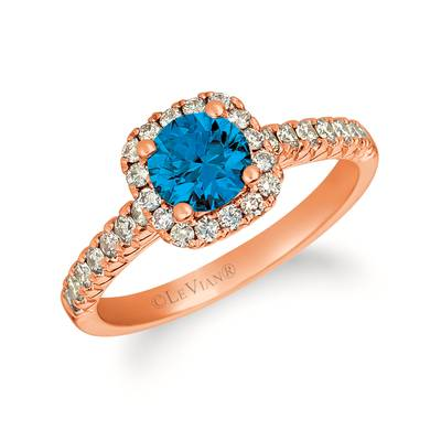 14K Strawberry Gold® Deep Sea Blue Topaz™ 1 cts. Ring with Vanilla Diamonds® 1/6 cts. | YRGE 53