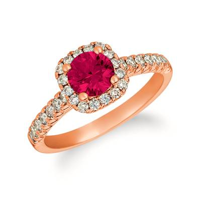 14K Strawberry Gold® Raspberry Rhodolite® 7/8 cts. Ring with Vanilla Diamonds® 1/6 cts. | YRGE 54
