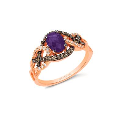 14K Strawberry Gold® Grape Amethyst™ 1/2 cts. Ring with Chocolate Diamonds® 1/5 cts., Vanilla Diamonds® 1/10 cts. | YRGE 55