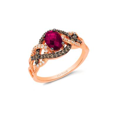 14K Strawberry Gold® Raspberry Rhodolite® 7/8 cts. Ring with Chocolate Diamonds® 1/5 cts., Vanilla Diamonds® 1/10 cts. | YRGE 57