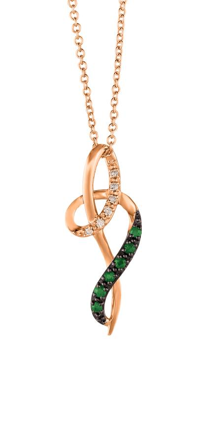 14K Strawberry Gold® Costa Smeralda Emeralds™ 1/10 cts. Pendant with Vanilla Diamonds®  cts. | YRGE 59