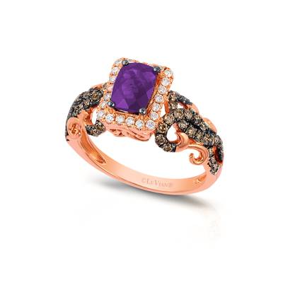 14K Strawberry Gold® Grape Amethyst™ 5/8 cts. Ring with Chocolate Diamonds® 1/2 cts., Vanilla Diamonds® 1/6 cts. | YRGE 60