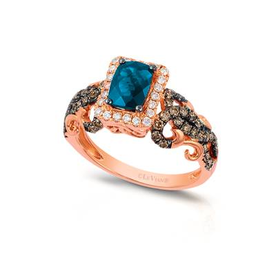 14K Strawberry Gold® Deep Sea Blue Topaz™ 7/8 cts. Ring with Chocolate Diamonds® 1/2 cts., Vanilla Diamonds® 1/6 cts. | YRGE 61