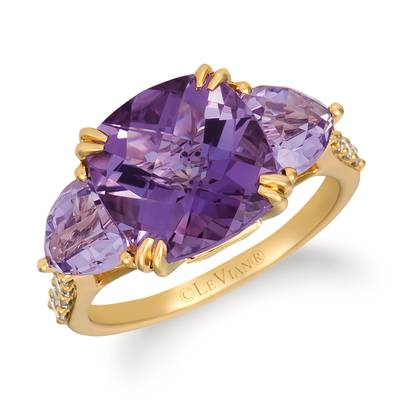 14K Honey Gold™ Grape Amethyst™ 4 cts., Cotton Candy Amethyst® 1  1/2 cts. Ring with Nude Diamonds™ 1/3 cts. | YRGH 4-070