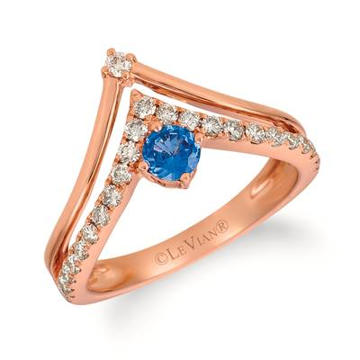 14K Strawberry Gold® Cornflower Ceylon Sapphire™ 1/3 cts. Ring with Nude Diamonds™ 3/8 cts. | YRGI 22-070