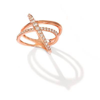 14K Strawberry Gold® Ring with Chocolate Diamonds® 5/8 cts., Nude Diamonds™ 5/8 cts. | YRGL 34