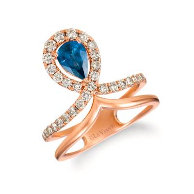 14K Strawberry Gold® Blueberry Sapphire™ 3/4 cts. Ring with Nude Diamonds™ 5/8 cts. | YRGL 58-070