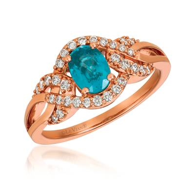 14K Strawberry Gold® Blueberry Zircon™ 7/8 cts. Ring with Vanilla Diamonds® 1/4 cts. | YRGO 59