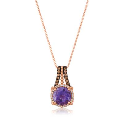 14K Strawberry Gold® Grape Amethyst™ 2  1/3 cts. Pendant with Chocolate Diamonds® 1/8 cts., Vanilla Diamonds® 1/10 cts. | YRGO 72